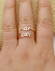 Fashion Steel Color Stainless Steel Mama Bear Letter Adjustable Ring
