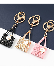 Fashion Pink Alloy Drip Bag With Diamond Pendant