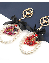 Fashion Red Alloy Diamond-studded Lips And Pearl Pendant Products