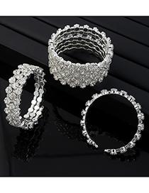 Fashion Section 1 Three Rows Of Six Rows Of Diamond Open Bracelet
