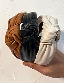 Fashion Black Pure Color Fabric Knotted Pu Leather Headband