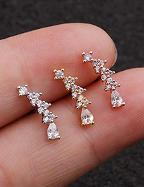 Fashion Silver Curved Water Drop Zircon Stainless Steel Thread Earrings