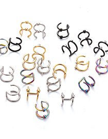 Fashion Steel Color Glossy Non-pierced Stainless Steel Double C Cartilage Piercing Jewelry