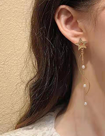 Fashion Golden Alloy Pearl And Diamond Pentagram Stud Earrings