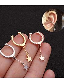 Fashion Silver Micro-set Zircon Five-pointed Star Earrings