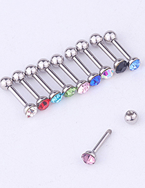 Fashion 10pcs/set Of Mixed Colors Colorful Rhinestone Stainless Steel Screw Earrings