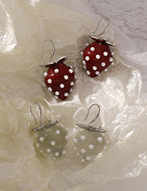 Fashion A Red Transparent Pearl Strawberry Earrings