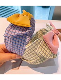 Fashion Purple Check Color Matching Double-layer Big Bow Headband