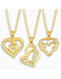 Fashion D Letter Mom Heart-shaped Diamond Necklace