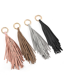 Fashion Brown Artificial Leather Tassel Keychain