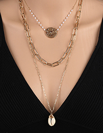 Fashion Gold Color Shell Multilayer Necklace