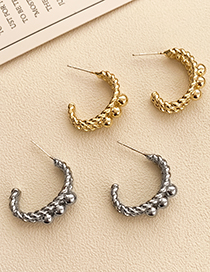 Fashion Gold Color Alloy Geometric C-shaped Earrings