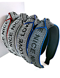 Fashion Black Bottom And Blue Edge-tablet Letter Wide-sided Webbing Knotted Headband