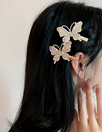 Fashion Gold Color Full Diamond Butterfly Hairpin
