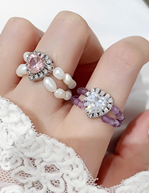 Fashion A Purple Crystal Love Double Freshwater Pearl Ring