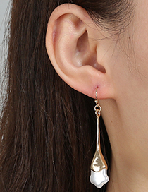Fashion Transparent Color Metal Five-pointed Star Pearl Earrings