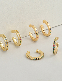 Fashion A Copper Micro-inlaid Colorful Zircon Earrings