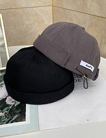 Fashion Blue Labeled Round Solid Color Cap