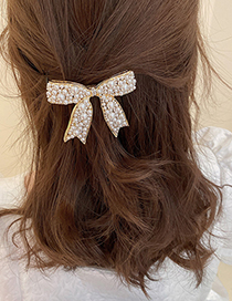 Fashion Gold Color Diamond-studded Pearl Bow Hairpin