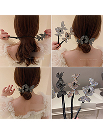 Fashion Black Diamond-studded Butterfly Hair Iron