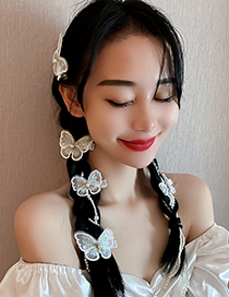Fashion Hairpin-white Pearl Gauze Bow Hairpin