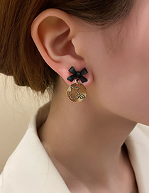 Fashion Gold Color Round Badge Bear Bow Earrings