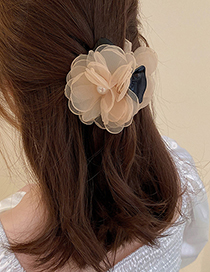 Fashion Black Pearl Flannel Flower Hair Scratch