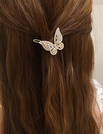 Fashion Butterfly Pearl Butterfly Zircon Hair Clip