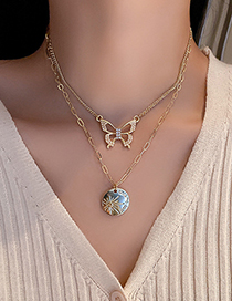 Fashion Gold Color Diamond Butterfly Disc Double Necklace