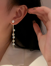 Fashion Gold Color Diamond Pearl Flower Tassel Earrings