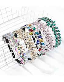 Fashion Ab Color Willow-shaped Leaf Flower Full Drill Headband