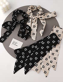 Fashion A Beige Hair Ring Letter D Ribbon Bow Hair Rope