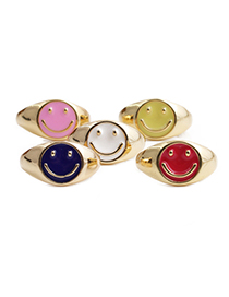 Fashion Blue Smiley Face Copper Drip Ring