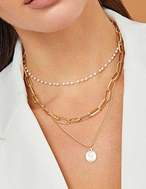 Fashion Golden Portrait Pearl Chain Multilayer Necklace