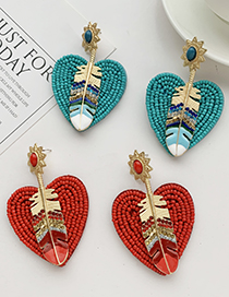 Fashion Red Rice Bead Love Diamond Feather Stud Earrings