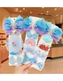 Fashion Five-piece Ice And Snow Bear Cartoon Hairpin With Bow Bear Five-pointed Star Starfish