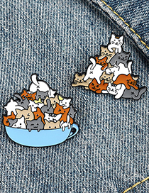 Fashion 2# Animal Alloy Cartoon Cat Stacked Luohan Paint Brooch