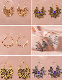 Fashion 1 Ancient Gold Metal Hollow Geometric Carved Earrings