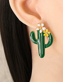 Fashion Red Alloy Oil Drop Flower Cactus Earrings