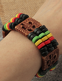 Fashion Coffee Color Color Wooden Beaded Multi-layer Bracelet