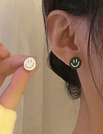 Fashion Pair Of Ear Studs Asymmetrical Round Smiley Earrings