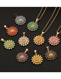 Fashion White Copper Drip Oil Double Layer Flower Necklace