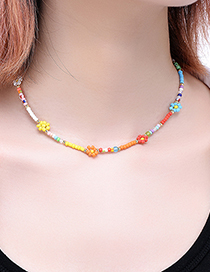 Fashion Color Resin Colored Rice Bead Flower Bead Necklace