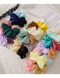 Fashion Green Pink White Contrast Elastic Pleated Hair Tie