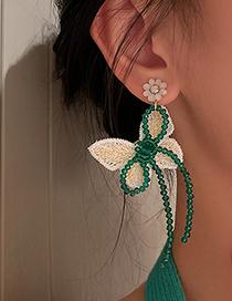 Pendientes De Botón De Mariposa Con Flor De Cristal