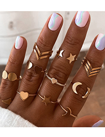 Fashion Gold Color Thread Moon Love Ring 11 Sets