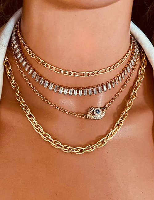 Fashion Golden Alloy Diamond Eye Claw Chain Multilayer Necklace