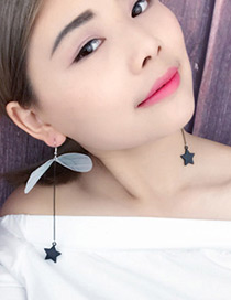 Fashion Pink Wings&stars Pendant Decorated Long Earrings