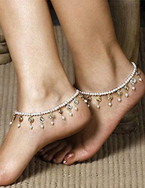 Elegant Silver Color Full Pearls Decorated Simple Anklet