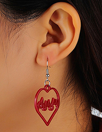 Fashion Red Resin Heart Hollow Earrings